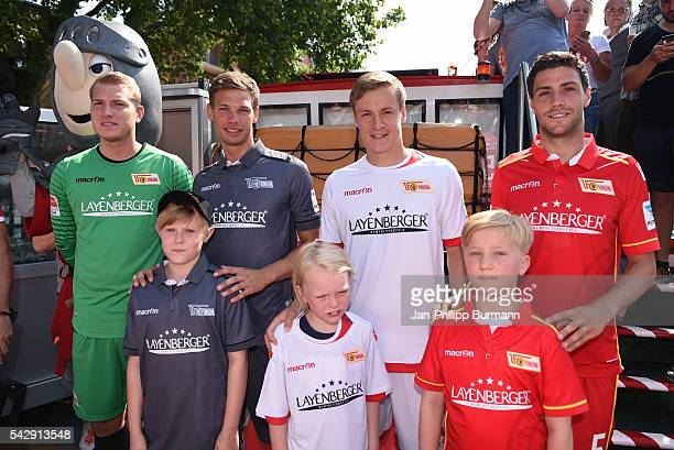 Jakob Busk Maximilian Thiel Felix Kroos and Benjamin Kessel of 1 FC Union Berlin during the presentation of the new shirts of Union Berlin on June 25...