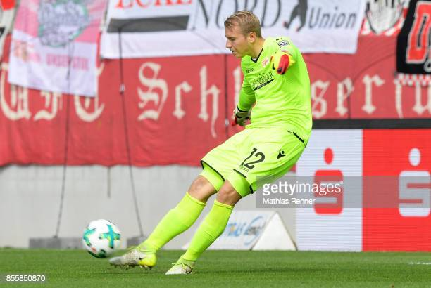 Jakob Busk of 1 FC Union Berlin during the game between FC Erzgebirge Aue and FC Union Berlin on september 30 2017 in Aue Germany