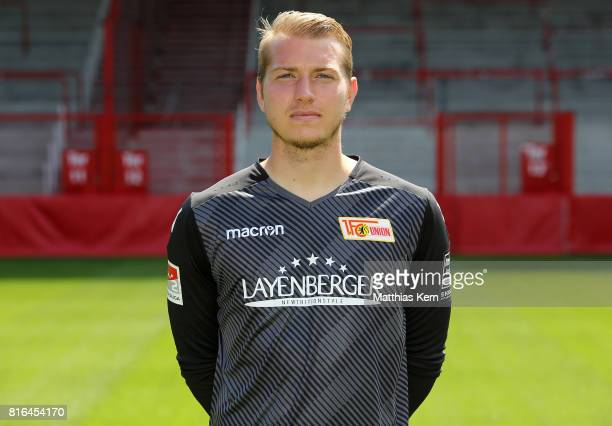 Jakob Busk of 1 FC Union Berlin poses during the team presentation at Stadion an der Alten Foersterei on July 17 2017 in Berlin Germany