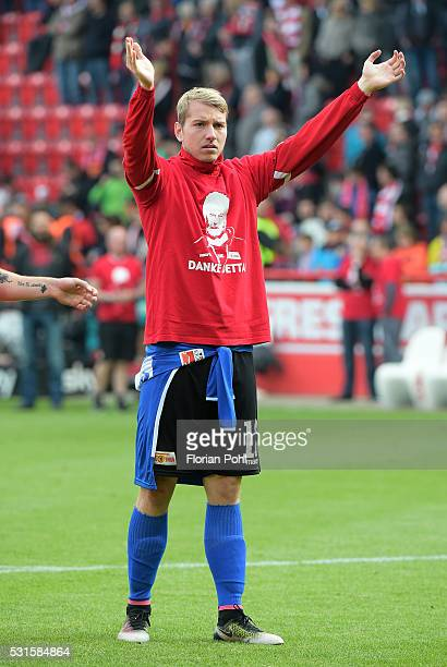 Jakob Busk of 1st FC Union Berlin celebrates the 21 win after the game between Union Berlin and dem SC Freiburg on may 15 2016 in Berlin Germany