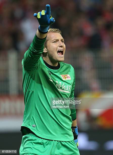 Jakob Busk of Berlin gestures during the Second Bundesliga match between 1 FC Union Berlin and FC St Pauli at Stadion An der Alten Foersterei on...