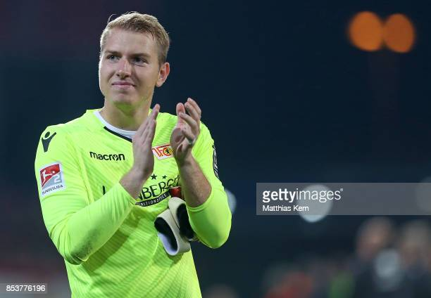 Jakob Busk of Berlin shows his delight after winning the Second Bundesliga match between 1 FC Union Berlin and 1 FC Kaiserslautern at Stadion An der...