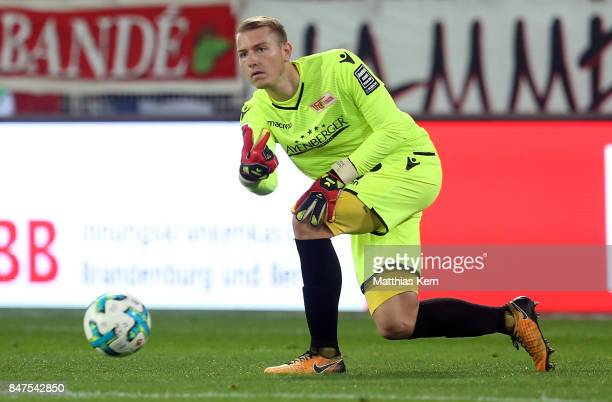 Jakob Busk of Berlin throws the ball during the Second Bundesliga match between 1 FC Union Berlin and Eintracht Braunschweig at Stadion An der Alten...