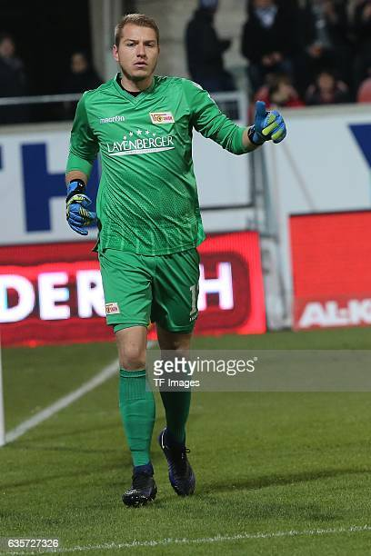 Jakob Busk of FC Union Berlin gestures during a 2 Bundesliga match between 1FC Heidenheim and Union Berlin on December 09 2016 in Heidenheim Germany