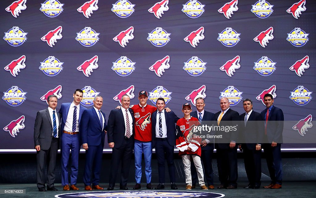 Jakob Chychrun celebrates with the Arizona Coyotes after being selected 16th during round one of the 2016 NHL Draft on June 24, 2016 in Buffalo, New York.
