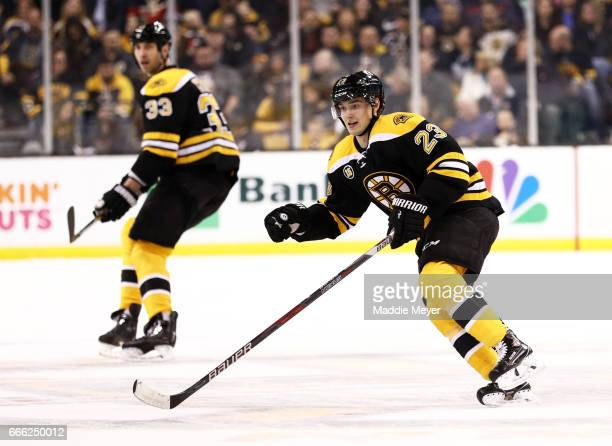 Jakob Forsbacka Karlsson of the Boston Bruins skates against the Washington Capitals during his first NHL game at TD Garden on April 8 2017 in Boston...