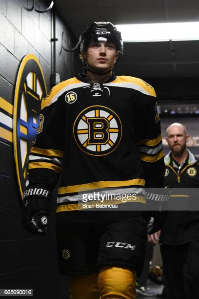 Jakob Forsbacka Karlsson of the Boston Bruins walks back to the locker room after warm ups against the Ottawa Senators at the TD Garden on April 6...