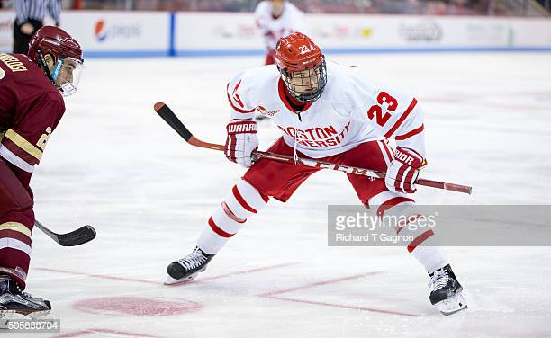 Jakob Forsbacka Karlsson of the Boston University Terriers skates against the Boston College Eagles during NCAA hockey at Agganis Arena on January 16...