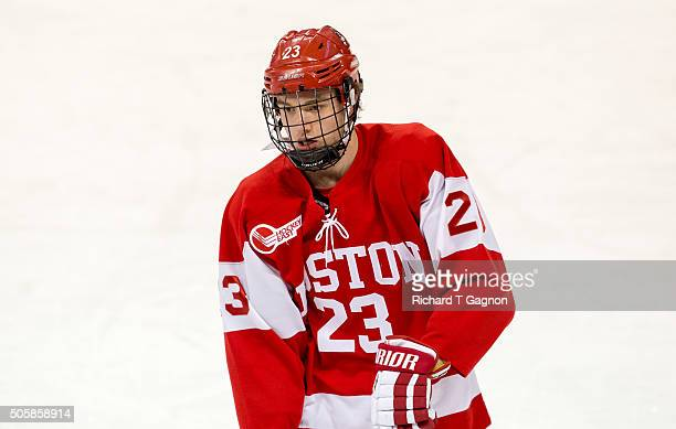 Jakob Forsbacka Karlsson of the Boston University Terriers skates against the Boston College Eagles during NCAA hockey at Kelley Rink on January 15...