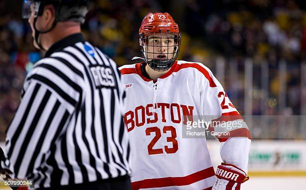 Jakob Forsbacka Karlsson of the Boston University Terriers skates against the Northeastern Huskies during NCAA hockey in the semifinals of the annual...