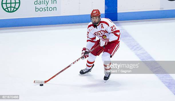Jakob Forsbacka Karlsson of the Boston University Terriers skates against the Northeastern Huskies during NCAA hockey at Agganis Arena on November 5...