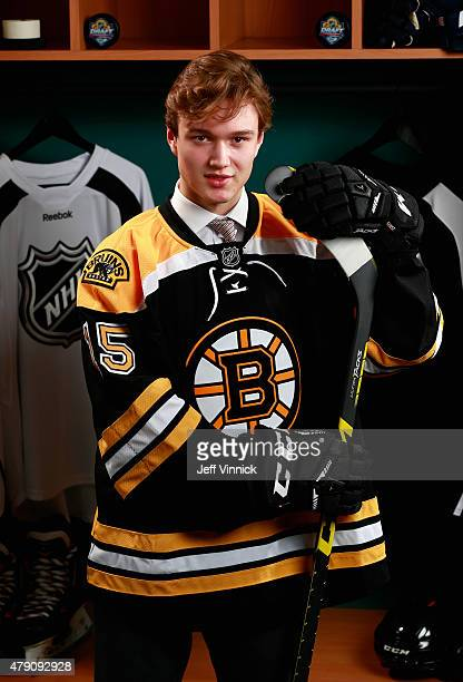 Jakob Forsbacka Karlsson poses for a portrait after being selected 45th by the Boston Bruins during the 2015 NHL Draft at BBT Center on June 27 2015...