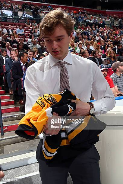 Jakob ForsbackaKarlsson poses after being selected 45th overall by the Boston Bruins during the 2015 NHL Draft at BBT Center on June 27 2015 in...