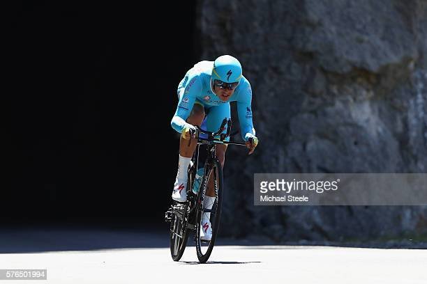 Jakob Fuglsang of Denmark and Astana Pro Team during the 37km Individual Time Trial stage thirteen of Le Tour de France from BourgSaintAndeol to La...