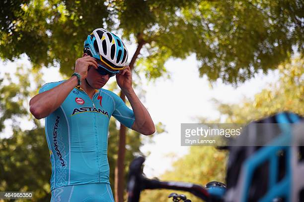 Jakob Fuglsang of Denmark and the Astana Pro Team prepares for the start of stage four of the 2015 Tour of Oman a 189km road stage from Sultan Qaboos...