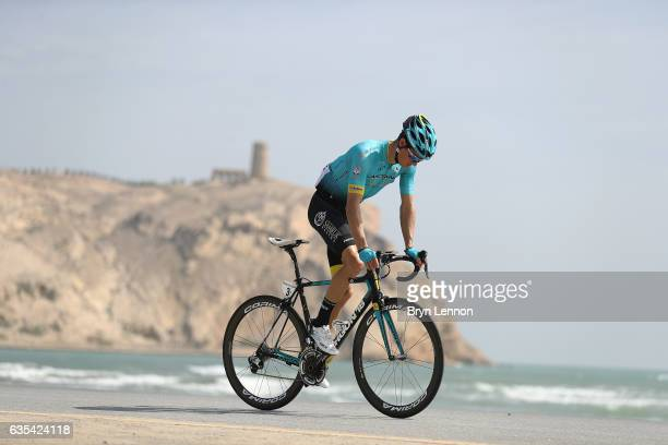 Jakob Fuglsang of Denmark and the Astana Pro Team rides to the start line of stage one of the 8th Tour of Oman a 1765km stage from Al Sawadi Beach to...