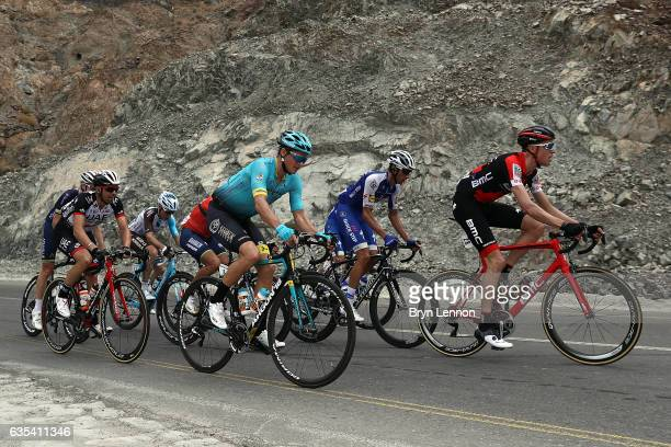 Jakob Fuglsang of Denmark and the Astana Pro Team rides up the Climb of Fanja on stage two of the 8th Tour of Oman a 1455km road stage from Nakhal to...