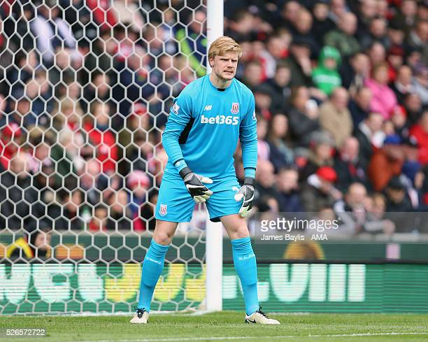 Jakob Haugaard of Stoke City during the Barclays Premier League match between Stoke City and Sunderland at Britannia Stadium on April 30 2016 in...