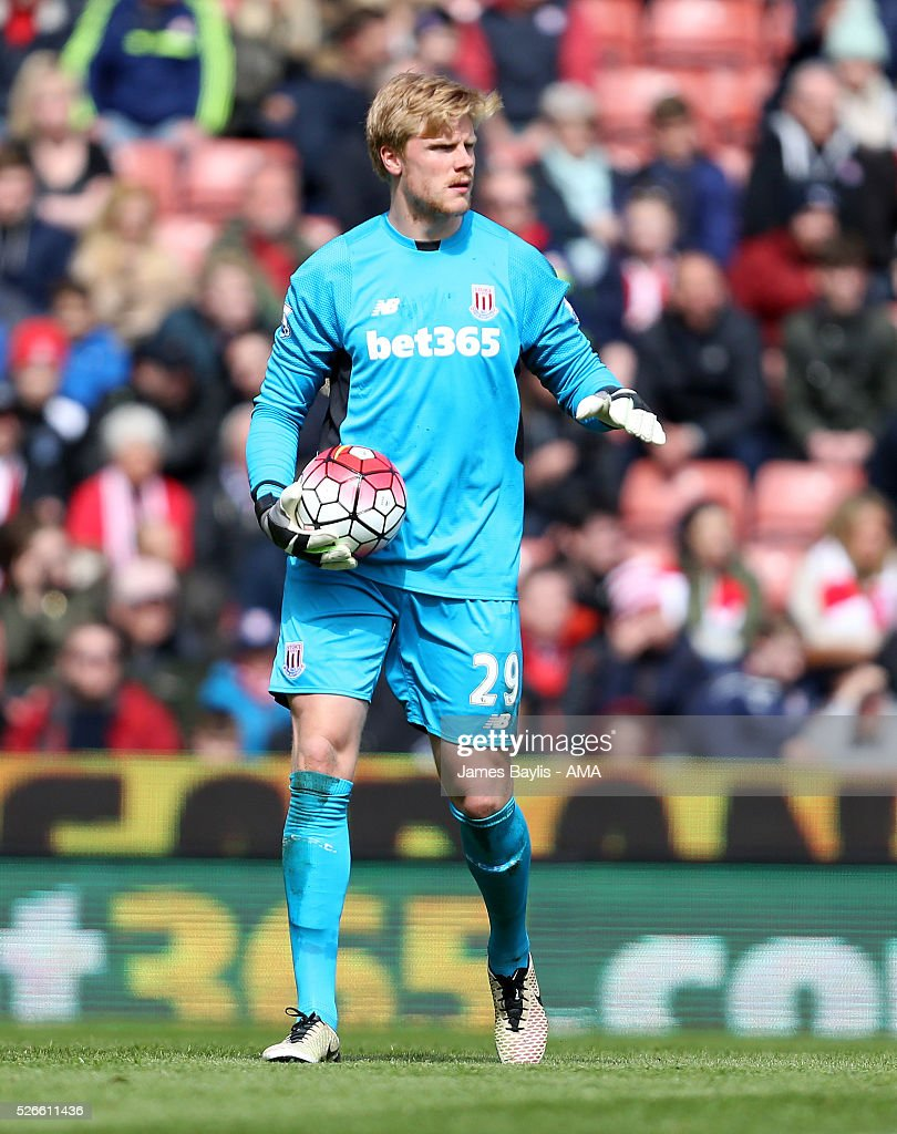 Jakob Haugaard of Stoke City during the Barclays Premier League match between Stoke City and Sunderland at Britannia Stadium on April 30, 2016 in Stoke on Trent, England