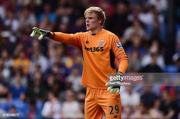 Jakob Haugaard of Stoke City gestures during the Barclays Premier League match between Crystal Palace and Stoke City at Selhurst Park on May 7 2016...