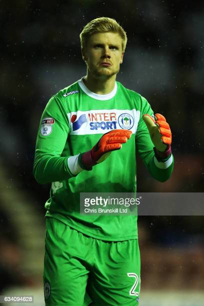 Jakob Haugaard of Wigan Athletic looks on during the Sky Bet Championship match between Wigan Athletic and Sheffield Wednesday at DW Stadium on...