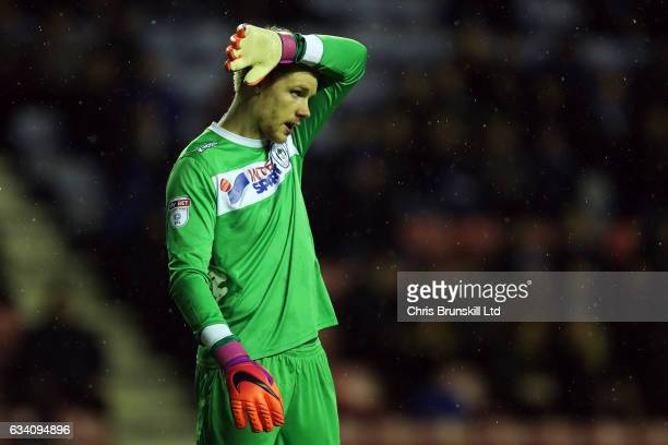 Jakob Haugaard of Wigan Athletic reacts during the Sky Bet Championship match between Wigan Athletic and Sheffield Wednesday at DW Stadium on...