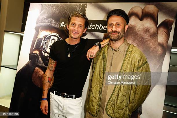 Jakob Haupt Dandy Diary and Andrea Rosso DIESEL Creative Director of Licencing attend the Diesel watches store event on November 19 2015 in Berlin...