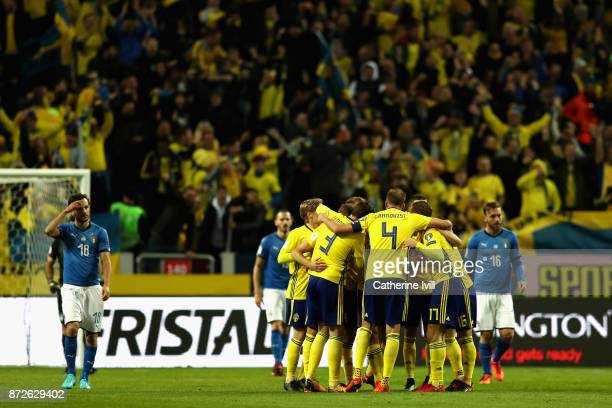 Jakob Johansson of Sweden celebrates scoring his sides first goal with his team mates during the FIFA 2018 World Cup Qualifier PlayOff First Leg...