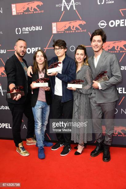 Jakob M Erwa Tristan Goebel Anand Batbileg Ella Rumpf and Noah Saavedra attend the New Faces Award Film at Haus Ungarn on April 27 2017 in Berlin...