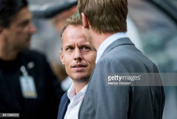 Jakob Michelsen head coach of Hammarby IF and Graham Potter head coach of Ostersunds FK during the Allsvenskan match between Hammarby IF and...