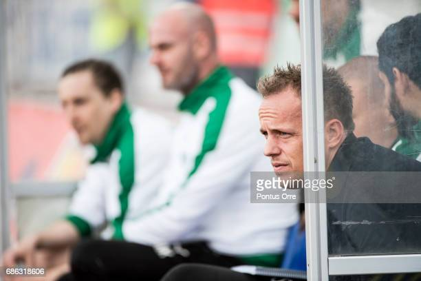 Jakob Michelsen head coach of Hammarby IF during the Allsvenskan match between IK Sirius FK and Hammarby IF at Studenternas IP on May 21 2017 in...