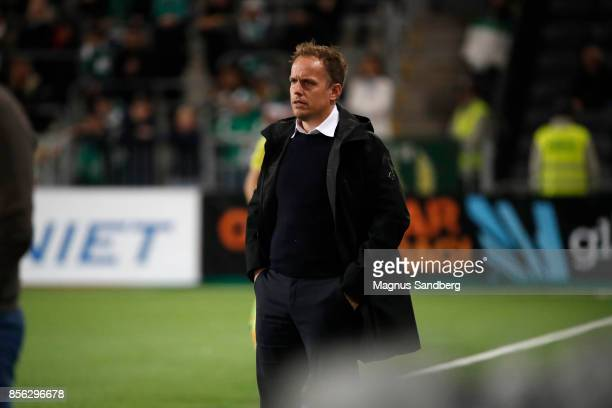 Jakob Michelsen head coach of Hammarby IF during the Allsvenskan match between Hammarby IF and IFK Norrkoping at Tele2 Arena on October 1 2017 in...