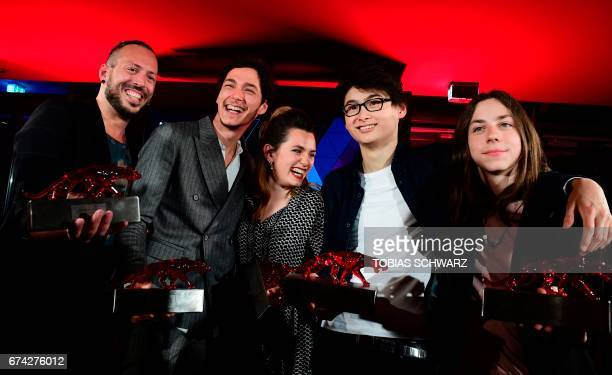 Jakob Moritz Erwa Noah Saavedra Ella Rumpf Anand Batbileg and Tristan Goebel pose during the New Faces award ceremony in Berlin on April 27 2017 /...