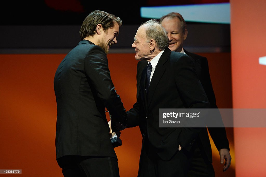Jakob Oftebro, Bruno Ganz and Stellan Skarsgard on stage at the Shooting Stars stage presentation during the 64th Berlinale International Film Festival at the Berlinale Palast on February 10, 2014 in Berlin, Germany.