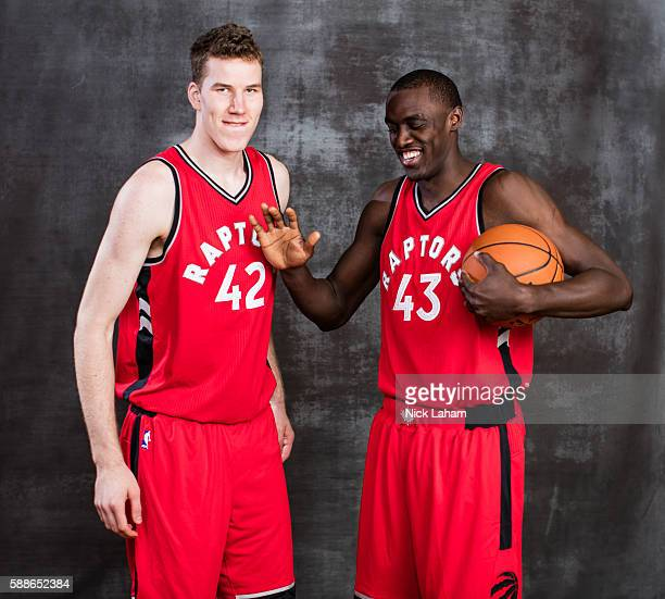 Jakob Poeltl and Pascal Siakam of the Toronto Raptors pose for a portrait during the 2016 NBA Rookie Photoshoot at Madison Square Garden Training...