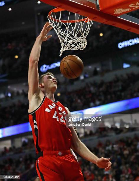 Jakob Poeltl of the Toronto Raptors dunks against the Chicago Bulls at the United Center on February 14 2017 in Chicago Illinois NOTE TO USER User...