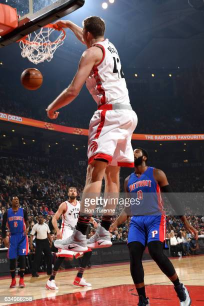 Jakob Poeltl of the Toronto Raptors dunks the ball during the game against the Detroit Pistons on February 12 2017 at the Air Canada Centre in...