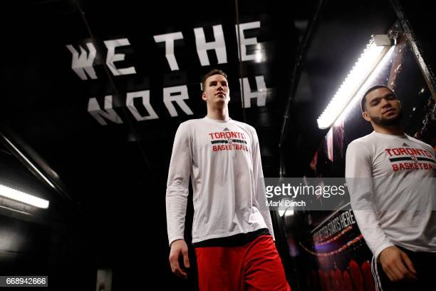 Jakob Poeltl of the Toronto Raptors is seen before the game against the Milwaukee Bucks on April 15 2017 during Game One of Round One of the 2017 NBA...