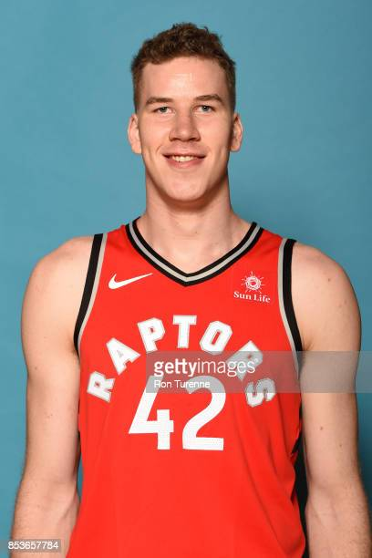 Jakob Poeltl of the Toronto Raptors poses for a head shot during Media Day on September 25 2017 at the BioSteel Centre in Toronto Ontario Canada NOTE...