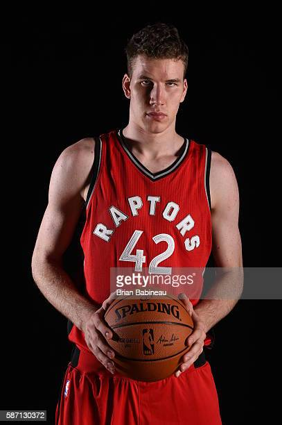 Jakob Poeltl of the Toronto Raptors poses for a portrait during the 2016 NBA rookie photo shoot on August 7 2016 at the Madison Square Garden...