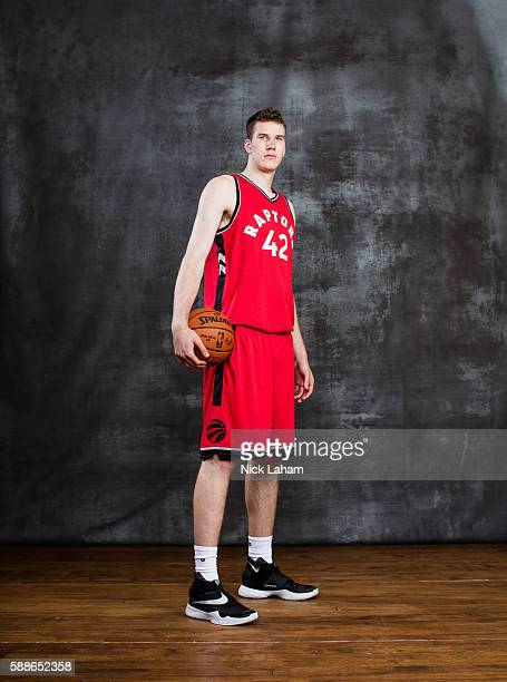 Jakob Poeltl of the Toronto Raptors poses for a portrait during the 2016 NBA Rookie Photoshoot at Madison Square Garden Training Center on August 7...