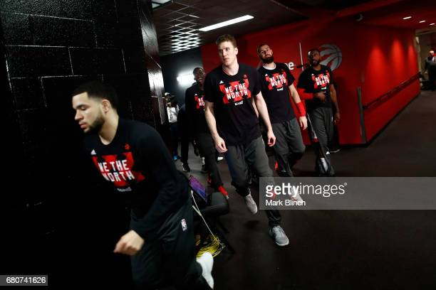 Jakob Poeltl of the Toronto Raptors runs to the court before Game Four of the Eastern Conference Semifinals against the Cleveland Cavaliers during...