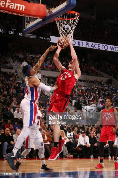 Jakob Poeltl of the Toronto Raptors shoots the ball against the Detroit Pistons on April 5 2017 at The Palace of Auburn Hills in Auburn Hills...