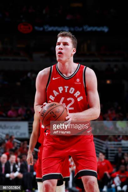 Jakob Poeltl of the Toronto Raptors shoots the ball against the Chicago Bulls on October 13 2017 at the United Center in Chicago Illinois NOTE TO...