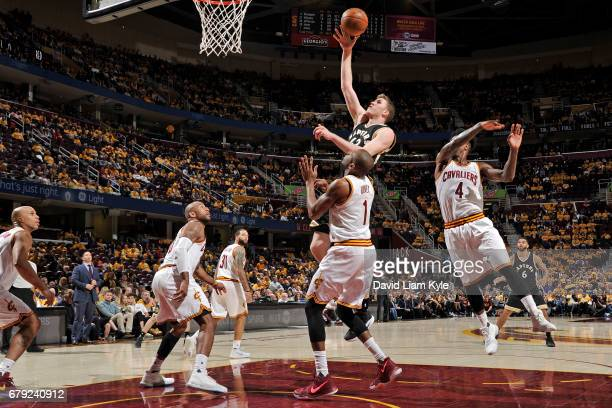 Jakob Poeltl of the Toronto Raptors shoots the ball against the Cleveland Cavaliers during Game Two of the Eastern Conference Semifinals during the...