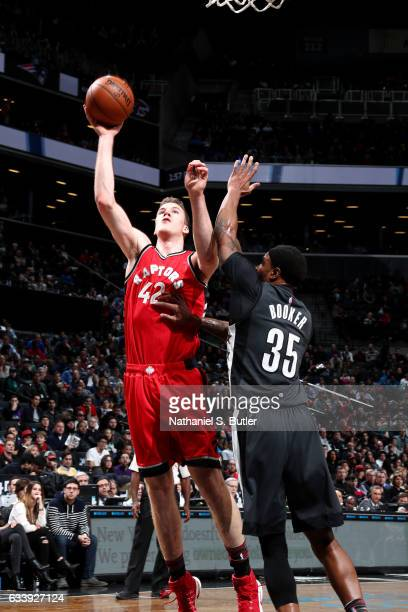 Jakob Poeltl of the Toronto Raptors shoots the ball during the game against the Brooklyn Nets on February 5 2017 at Barclays Center in Brooklyn New...