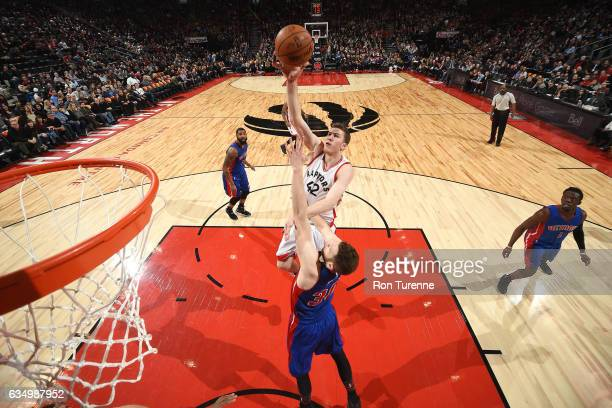 Jakob Poeltl of the Toronto Raptors shoots the ball during the game against the Detroit Pistons on February 12 2017 at the Air Canada Centre in...