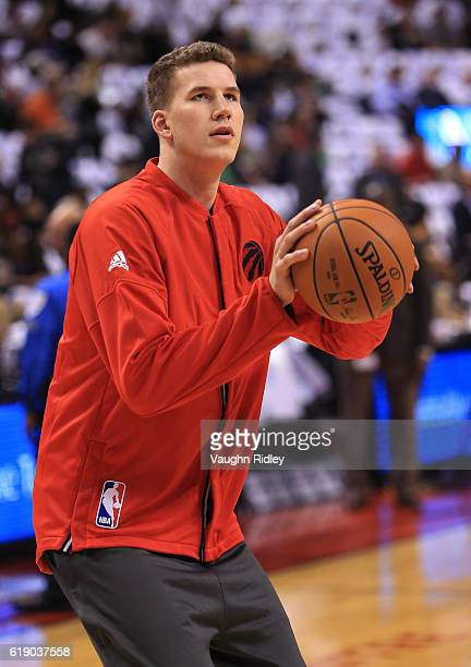Jakob Poeltl of the Toronto Raptors warms up prior to an NBA game against the Detroit Pistons at Air Canada Centre on October 26 2016 in Toronto...