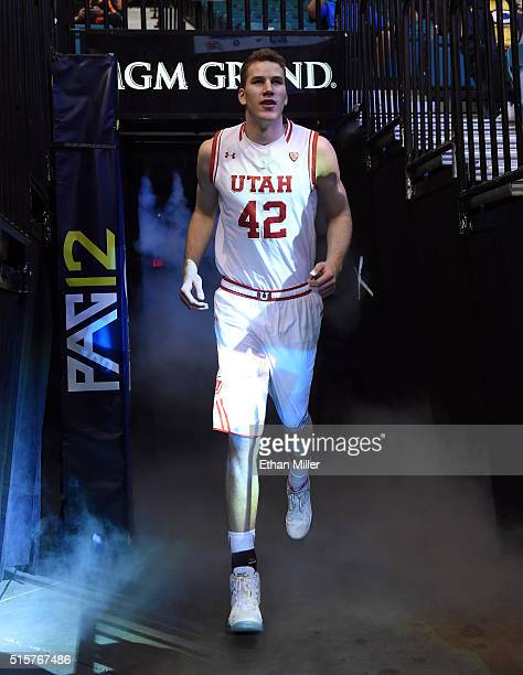 Jakob Poeltl of the Utah Utes is introduced before the team's quarterfinal game of the Pac12 Basketball Tournament against the USC Trojans at MGM...