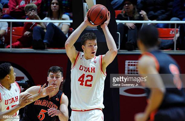Jakob Poeltl of the Utah Utes looks to pass the ball against the Idaho State Bengals at the Jon M Huntsman Center on November 27 2015 in Salt Lake...